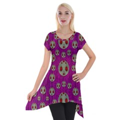 Ladybug In The Forest Of Fantasy Short Sleeve Side Drop Tunic