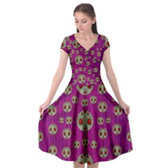 Ladybug In The Forest Of Fantasy Cap Sleeve Wrap Front Dress