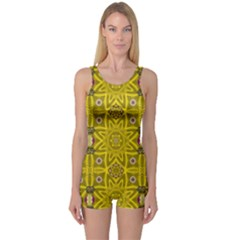 Stars And Flowers In The Forest Of Paradise Love Popart One Piece Boyleg Swimsuit