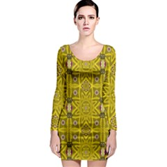 Stars And Flowers In The Forest Of Paradise Love Popart Long Sleeve Bodycon Dress
