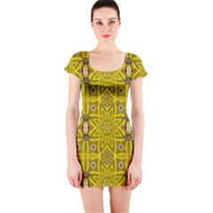 Stars And Flowers In The Forest Of Paradise Love Popart Short Sleeve Bodycon Dress