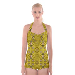Stars And Flowers In The Forest Of Paradise Love Popart Boyleg Halter Swimsuit