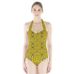 Stars And Flowers In The Forest Of Paradise Love Popart Halter Swimsuit