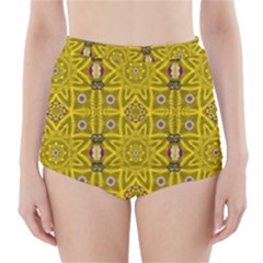 Stars And Flowers In The Forest Of Paradise Love Popart High Waisted Bikini Bottoms