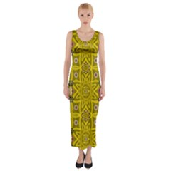 Stars And Flowers In The Forest Of Paradise Love Popart Fitted Maxi Dress