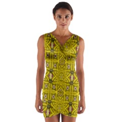 Stars And Flowers In The Forest Of Paradise Love Popart Wrap Front Bodycon Dress