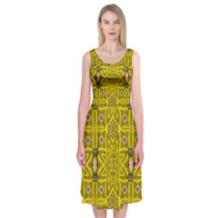 Stars And Flowers In The Forest Of Paradise Love Popart Midi Sleeveless Dress