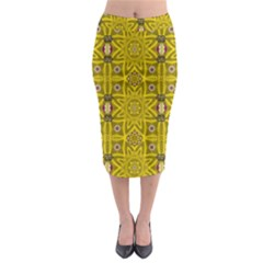 Stars And Flowers In The Forest Of Paradise Love Popart Midi Pencil Skirt