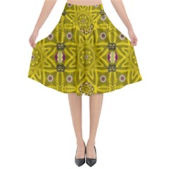 Stars And Flowers In The Forest Of Paradise Love Popart Flared Midi Skirt
