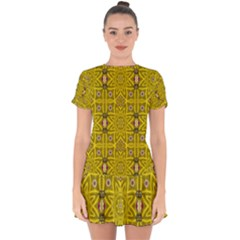 Stars And Flowers In The Forest Of Paradise Love Popart Drop Hem Mini Chiffon Dress