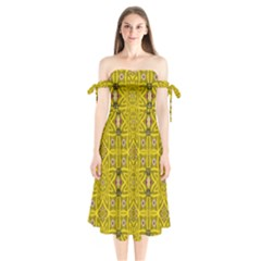 Stars And Flowers In The Forest Of Paradise Love Popart Shoulder Tie Bardot Midi Dress