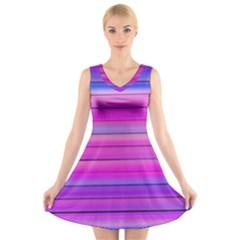 Cool Abstract Lines V-Neck Sleeveless Skater Dress
