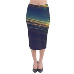 Night Lights Velvet Midi Pencil Skirt