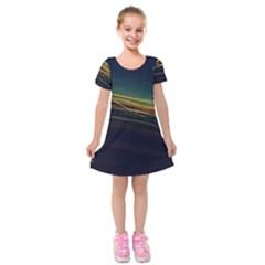 Night Lights Kids  Short Sleeve Velvet Dress