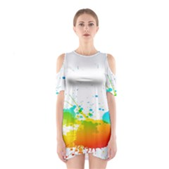 Colorful Abstract Shoulder Cutout One Piece