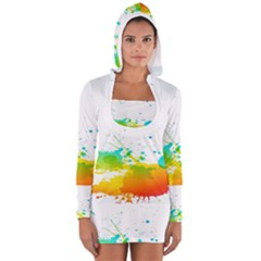 Colorful Abstract Women s Long Sleeve Hooded T Shirt