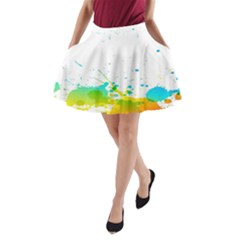 Colorful Abstract A-Line Pocket Skirt