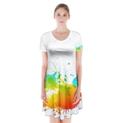 Colorful Abstract Short Sleeve V Neck Flare Dress