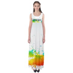 Colorful Abstract Empire Waist Maxi Dress
