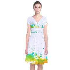 Colorful Abstract Short Sleeve Front Wrap Dress