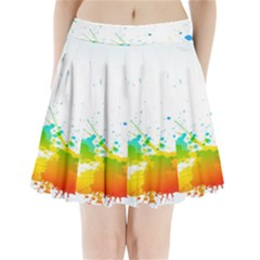 Colorful Abstract Pleated Mini Skirt