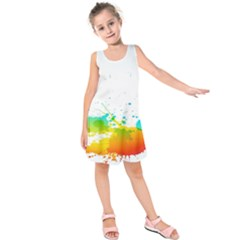 Colorful Abstract Kids  Sleeveless Dress