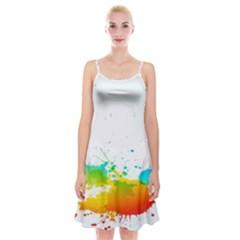 Colorful Abstract Spaghetti Strap Velvet Dress
