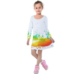Colorful Abstract Kids  Long Sleeve Velvet Dress