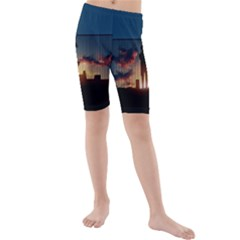 Art Sunset Anime Afternoon Kids  Mid Length Swim Shorts