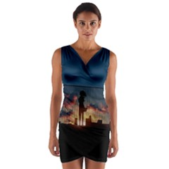 Art Sunset Anime Afternoon Wrap Front Bodycon Dress
