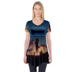 Art Sunset Anime Afternoon Short Sleeve Tunic