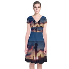 Art Sunset Anime Afternoon Short Sleeve Front Wrap Dress