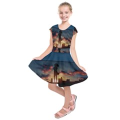 Art Sunset Anime Afternoon Kids  Short Sleeve Dress