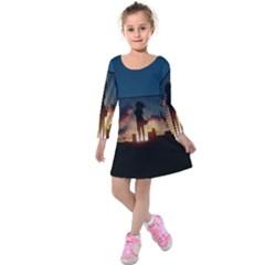 Art Sunset Anime Afternoon Kids  Long Sleeve Velvet Dress