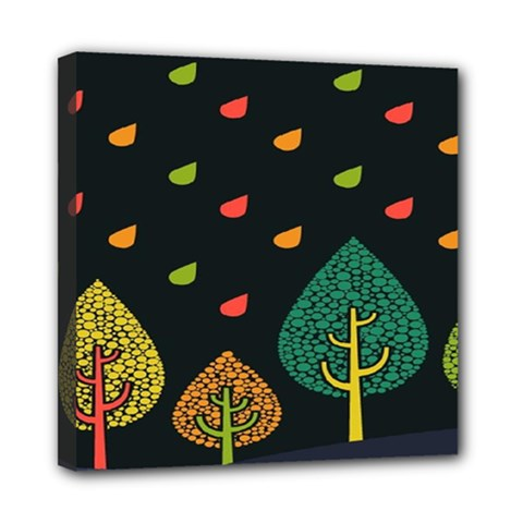 Vector Color Tree Mini Canvas 8  x 8