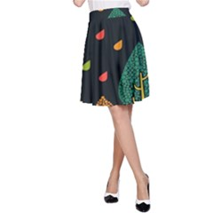 Vector Color Tree A Line Skirt