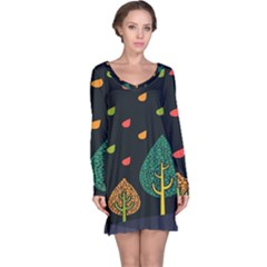 Vector Color Tree Long Sleeve Nightdress