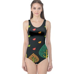 Vector Color Tree One Piece Swimsuit