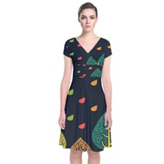 Vector Color Tree Short Sleeve Front Wrap Dress
