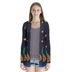 Vector Color Tree Drape Collar Cardigan
