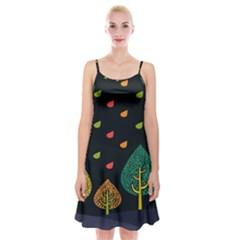 Vector Color Tree Spaghetti Strap Velvet Dress