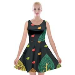 Vector Color Tree Velvet Skater Dress