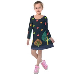 Vector Color Tree Kids  Long Sleeve Velvet Dress