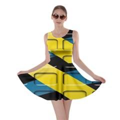 Colorful Docking Frame Skater Dress