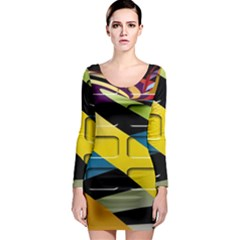 Colorful Docking Frame Long Sleeve Bodycon Dress