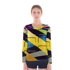 Colorful Docking Frame Women s Long Sleeve Tee