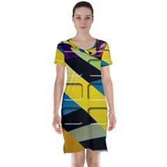 Colorful Docking Frame Short Sleeve Nightdress