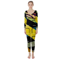Colorful Docking Frame Long Sleeve Catsuit