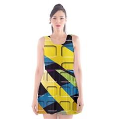 Colorful Docking Frame Scoop Neck Skater Dress