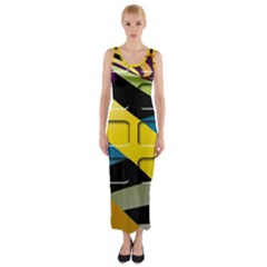 Colorful Docking Frame Fitted Maxi Dress